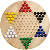 Brybelly Wooden Chinese Checkers | Made with All Natural Wooden Materials | Includes 60 Wooden Marbles in 6 Colors | All Ages Classic Strategy Game for Up to Six Players (Tamaño: 1-Pack)