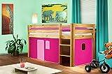 Hochbett Kinderbett Spielbett Massiv Kiefer Natur/Lackiert - Pink - SHB/16/1035