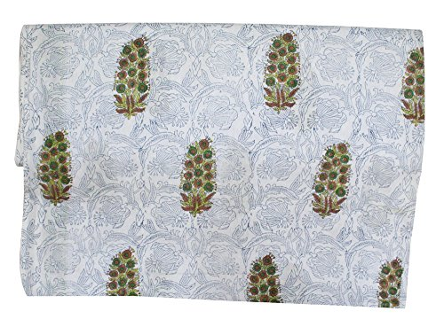 Traditional Hand Block Printed Cotton Fabric, Can Be Used For Dresses, Tops Skirts Fabric 5 Yard