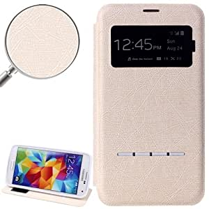 Hairline Texture Leather Case with Call Display ID & Holder for Samsung Galaxy S5 G900 in White