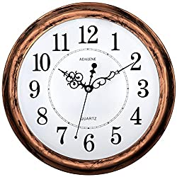 Adalene 13 Inch Large Non-Ticking Silent Wall Clock Decorative, Battery Operated Quartz Analog Quiet Wall Clock, For Living Room, Kitchen, Bedroom