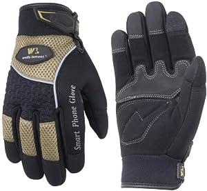 Wells Lamont 7649L Smart Phone Glove Work Gloves, Black, Large