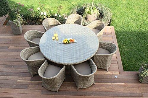 Aston-Rattan Gartenmöbel für 8 Personen, rund, Kissen Beige