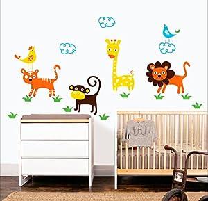 MYVINILO - Vinilo decorativo infantil - Savanna / naranja / marrón / amarillo / verde claro / azul claro (110x67cm) por MYVINILO