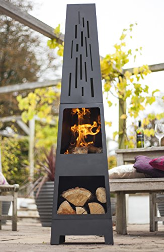 519DKL2VC L - BEST BUY #1 La Hacienda 150 cm Oxford Contemporary Steel Chiminea Patio Heater with Wood Store - Black