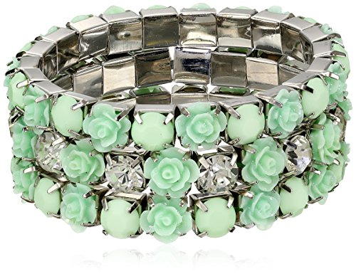 3 Rows Of Stretch Rosette 2 Opaque And 1 Crystal Stones Shiny Silver And Mint Bracelet