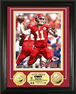 Alex Smith Framed Kansas City Chiefs Gold Coin Photo Mint by Hall of Fame Memorabilia