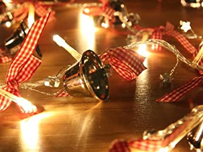 Battery Operated LED String Lights with Jingle Bell, Christmas Lights, Party Lights