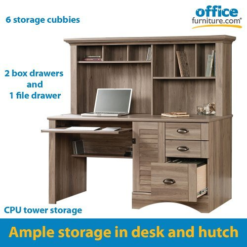 Sauder harbor view computer desk with hutch in salt oak for Oak harbor furniture