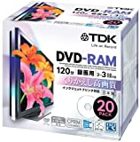 TDK 録画用DVD-RAM デジタル放送録画対応(CPRM) インクジェットプリンタ対応 2-3倍速 日本製 5mmスリムケース 20枚パック DRAM120DPB20U