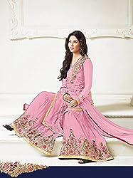 Designer Embroidery Light Pink Georgette Salwar Kameez