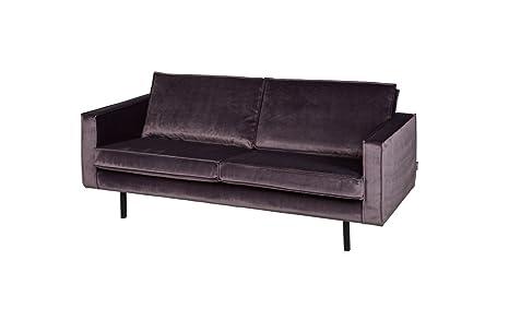 Samtsofa Rodeo 2-Sitzer Grau Vintage Sofa Retro Sofa Designer Sofa