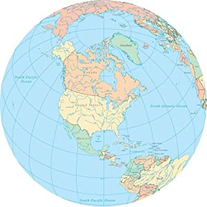 Art Wall Decals World Political Map Globe-North America - 48 inches x 48 inches - Peel and Stick Removable Graphic