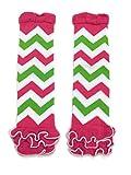 KWC - Hot Pink & Green Zig Zag Ruffles Baby Leg Warmer (Chevron)