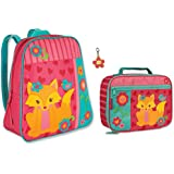 Stephen Joseph Girls Fox Backpack and Lunch Box with Flower Zipper Pull for Kids