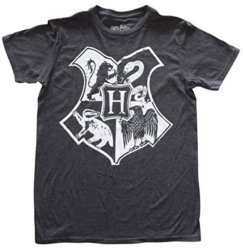 Harry Potter Hogwarts Crest Mens Charcoal Heather T-shirt M