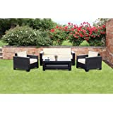 Cambridge Outdoor Rattan Garden Sofa Set in Black All Weather Furnitureby Wovenhill Rattan...
