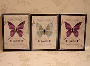 set of 3 butterfly canvas prints wall art living room dining room