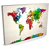 Watercolor Map of the World Map Canvas Art Print, 22x34 inch (A1) - 687