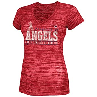 Los Angeles Angels Majestic MLB Ladies Club Classic V-Neck T-Shirt by Majestic