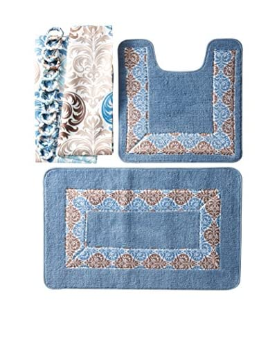 Palace Linens 15-Piece Bathroom Ensemble, Paloma Blue