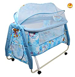 Baybee Melody Swing Baby Cradle (Blue) with Lock system