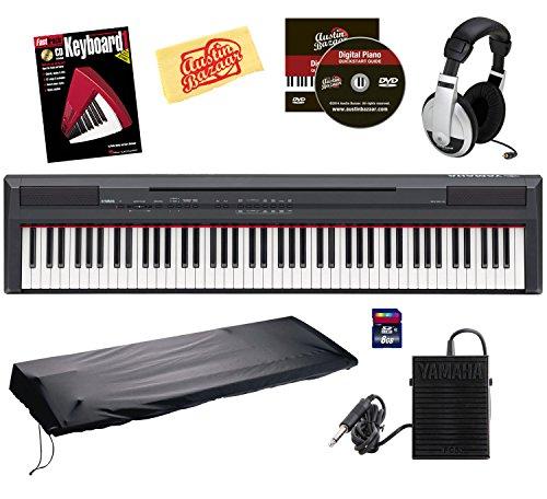 Yamaha P105B 88-Key Digital Piano Bundle With 8Gb Sd Card, Sustain Pedal, Headphones, Instructional Book, And Polishing Cloth