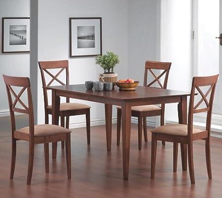 5pcs Cross-Back Walnut Finish Dining Table & 4 Chairs Set