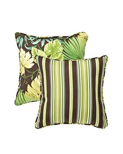 Pillow Perfect Set of 2 Decorative Reversible Tropical Toss Pillows