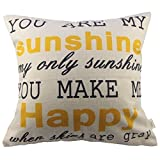 HOSL You Are My Sunshine Cotton Linen Square Decorative Throw Pillow Case Cushion Cover 17.3*17.3 Inch (44CM*44CM)