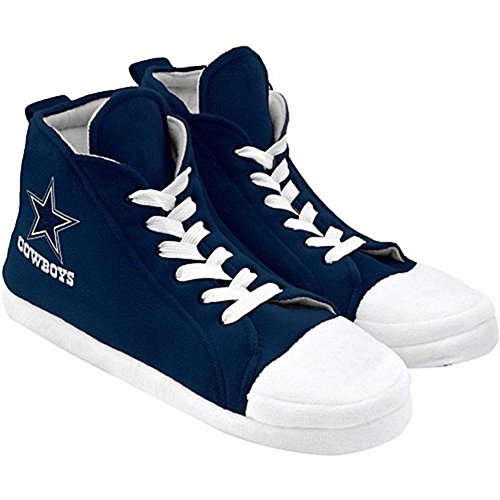 NFL Dallas Cowboys Men's Football High Top Slippers, Large, Shoe Size 11-12