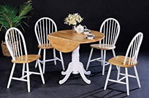 40 round natural white dining table 4 chairs h