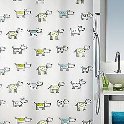 Spirella Cartoon Dog Shower Curtain, Swiss Design Pet Shower Curtain, Green