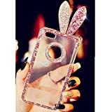 EVTECH(TM) for iphone 6 pro plus 5.5 inch Rabbit Bunny Ear 3D Handmade Fashion Crystal Rhinestone Bling Case Cover TPU soft Case Clear(100% Handcrafted)