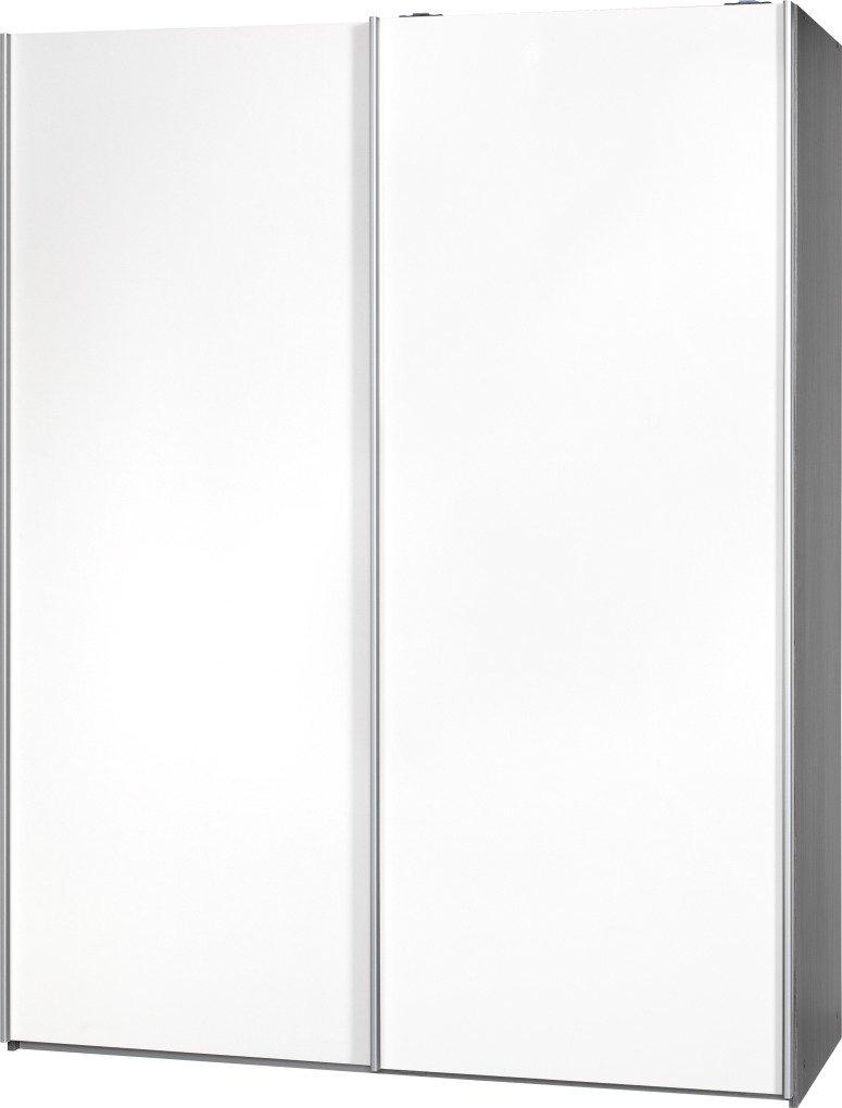 Schwebetürenschrank Soft Plus Smart Typ 43″, 150 x 194 x 61cm, Silbereiche/2 x Weiß