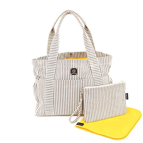 Bella Tunno Carry-All Classic Canvas Baby Bag, Grey Stripe