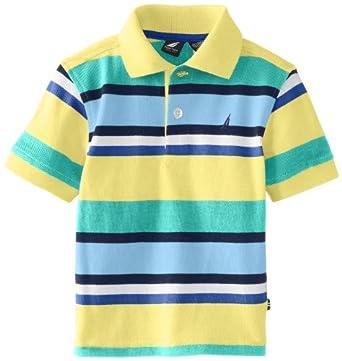 Nautica Baby-Boys Infant Multi Stripe Short Sleeve Polo, Yellow, 18 Months