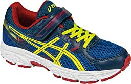 ASICS Pre Contend 3 PS Running Shoe (Little Kid/Little Kid), Royal/Flash Yellow/Red, 3 M US Little Kid