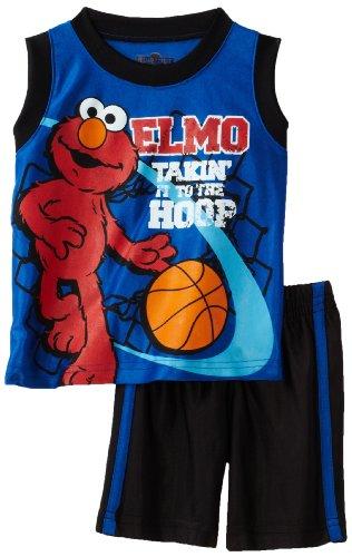 Sesame Street Baby-Boys Infant Elmo Basketball Short Set, Victoria Blue, 18 Months