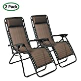 PARTYSAVING Infinity Zero Gravity Outdoor Lounge Patio Folding Reclining Chair Brown Set of 2 APL1014
