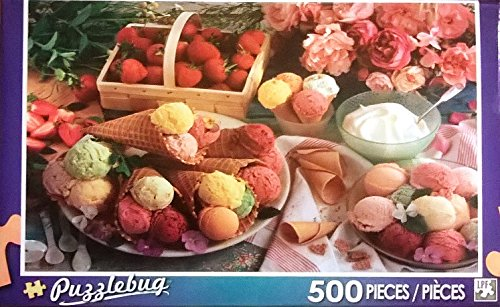 Variety of Ice Creams with Strawberries and Roses 500 Piece Puzzle