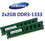 4GB Dual Channel Kit Samsung original 2 x 2 GB 240 pin DDR3-1333 (1333Mhz, PC3-10600, CL9) 128Mx8x16 double side (2x M378B5673FH0-CH9) für DDR3 + i5 Mainboards - 100% kompatibel zu 1066Mhz, PC3-8500, CL7