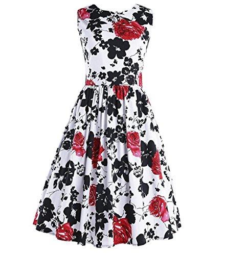 Vintage 1950 vestito da cocktail del vestito da partito picnic Floral Spring Garden Party (2XL, Red)