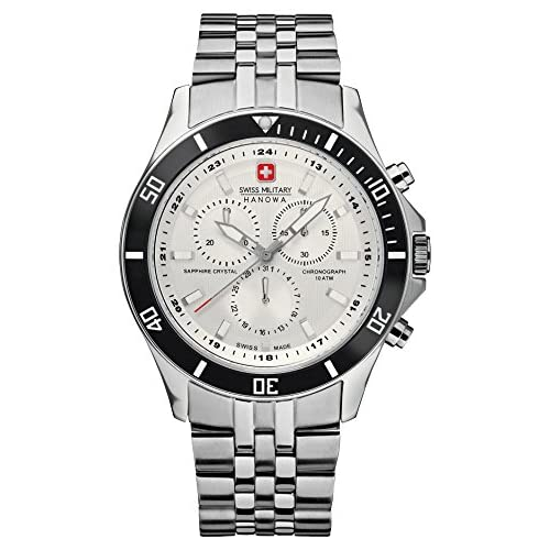 Swiss Military Flagship Chrono Men's Quartz Watch with White Dial Chronograph Display and Silver Stainless Steel...