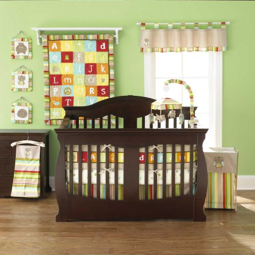 A-Z Reversible 4 Piece Baby Crib Bedding Set By Too Good By Jenny front-929678