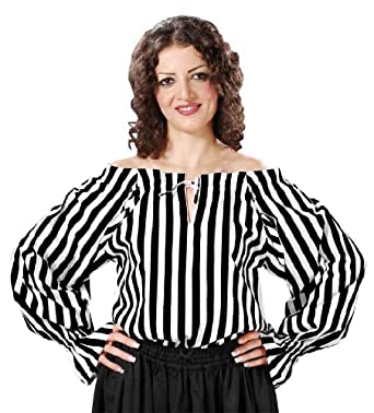 Renaissance Gothic Pirate Medieval Wench Striped Blouse (Large, Black White)
