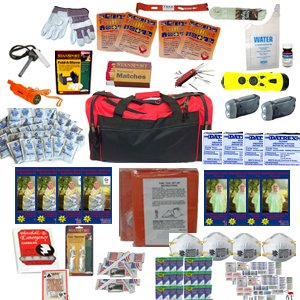 4 Person Perfect Survival Kit Deluxe for Earthquake, Evacuation, Emergency Disaster Preparedness 72 Hour Kits for Home, Work or Auto: 4 Person