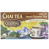 Celestial Seasonings Chai Decaf Tea, Sweet Coconut Thai, 20-Count Tea Bags (Pack of 6)