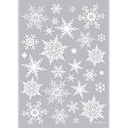Easy Instant Decoration Wall Sticker Decal - Ornate Glittery Silver Snowflakes (White)