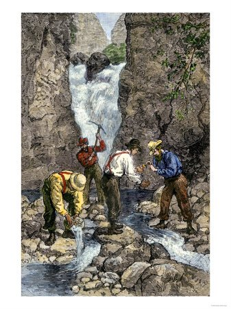 Prospectors Finding Gold in a Stream during the California Gold Rush